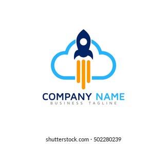 Rocket Cloud Logo Design Template