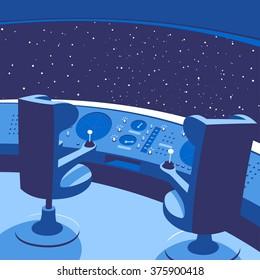 Rocket cockpit in blue