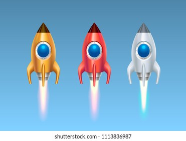 Rocket color set on the blue background. Vector illustration