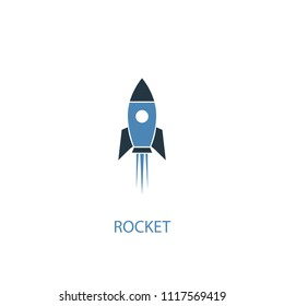 rocket concept 2 colored icon. Simple blue element illustration. rocket concept symbol design from space exploration set. Can be used for web and mobile UI/UX