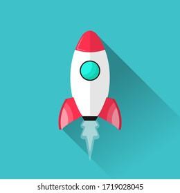Rocket design concept. Flat cartoon design of spaceship vector illustration