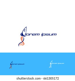 rocket and  dna logo icon vector