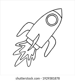 Rocket doodle drawing. Isolated on white background. Sketch elements set for design. Vector hand drawn illustration in doodle style. Astronomical or celestial objects.