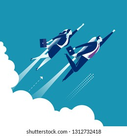 Rocket duo. Business persons flying up powered by a rocket engine. Conceptual business vector illustration