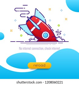The rocket fell, vector illustration of the rocket reload button, design for the site reload page.