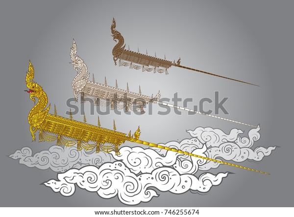 Rocket Festival Thai vintage Naka vector illustrator