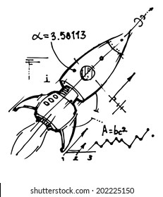 Rocket flies into space. Black and white sketch. Vector illustration.