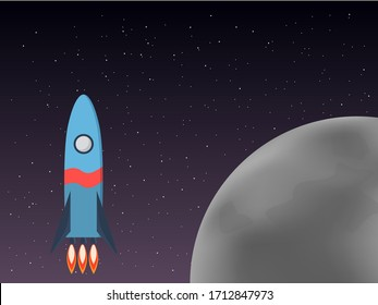 A rocket flies in space, against the background of stars and the moon