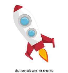rocket fly in the space icon