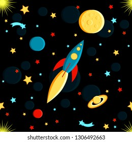 Rocket flying to the moon. Sun, Saturn, Earth, other planets, stars, comets, space Cartoon style Seamless pattern