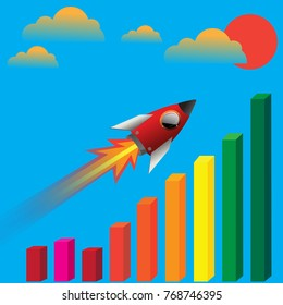 Rocket flying up on bar graph. Graph that shows increase in sales. Business success. Vector illustration