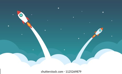 Rocket are flying on the sky. Business concept vector