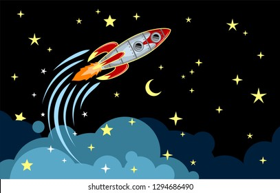 Rocket flying in space among the stars and clouds