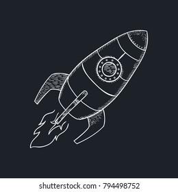 Rocket Hand Drawn on Dark Background. Vector illustration