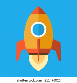 Rocket Icon in Flat Style. Vector illustration