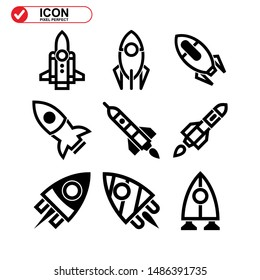 rocket icon isolated sign symbol vector illustration - Collection of high quality black style vector icons