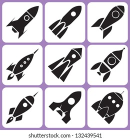 rocket icon set