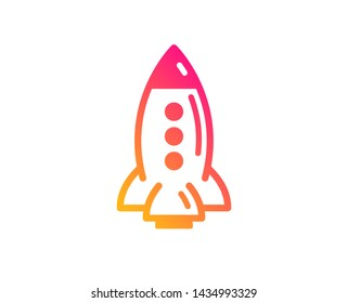 Rocket icon. Spaceship transport sign. Aircraft symbol. Classic flat style. Gradient rocket icon. Vector