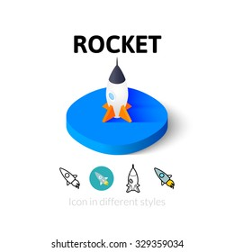 Rocket icon, vector symbol in flat, outline and isometric style