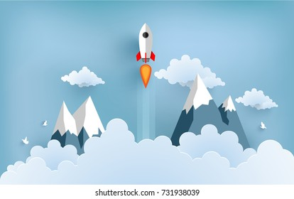 rocket illustration flying over cloud. design paper art and handicraft