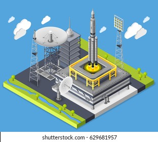Rocket isometric composition with rocket start and astronautics symbols vector illustration