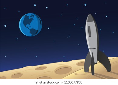 Rocket Landed on Moon Surface and Earth on the Background Scene