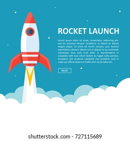 Rocket launch background cartoon. Takeoff phase of the flight, orbital spaceflights in air, business startup symbol. Vector flat style cartoon illustration isolated on white and blue background