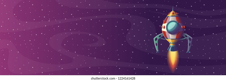 Rocket launch banner with stars, vector illustration