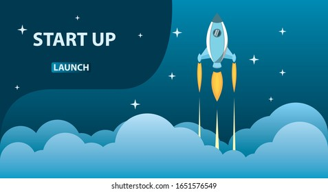 rocket launch business start up concept