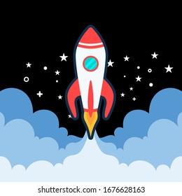 Raketenstart. Startup-Banner für Unternehmen einzeln auf blauem Hintergrund