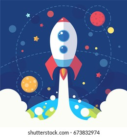 Rocket launch. Cartoon postcard with planets, rocket and stars. Astronomic symbols for scrap-booking, design projects, invitations, prints and flyers