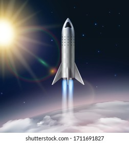 Rocket launch composition realistic with view of stratosphere with sun stars and futuristic flying rocket image vector illustration