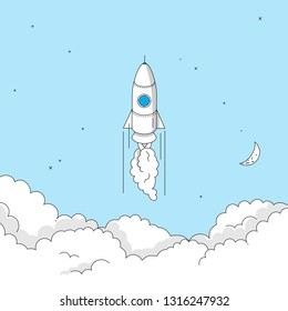 Rocket launch concept. Modern illustration in linear style.