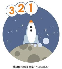 Rocket Launch Countdown Cartoon