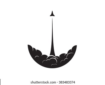 Rocket Launch Flat - Isolated Vector Illustration
