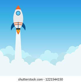Rocket launch flying over cloud - concept of business start up banner