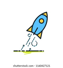 Rocket launch icon outline, Startup, Business opportunity, Aim, Target, Aspiration, Success concept, taking off, Growth, achievement, career growth, ambition