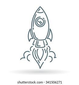 Rocket launch icon. Spaceship startup sign. Spacecraft flight symbol. Thin line icon on white background. Vector illustration.