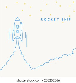 Rocket launch icon. Vector illustration eps 10 thin line design