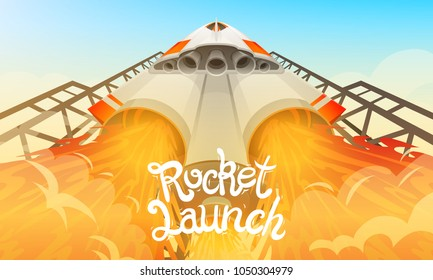 Rocket launch. International spaceship, shuttle in space, bottom view. Technology and science, spaceship or ship in the sky. concept. explore missile, engine flame.