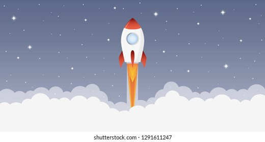 rocket launch into space with starry sky vector illustration EPS10