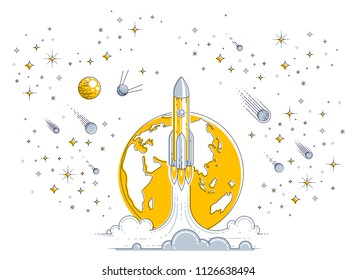 Rocket launch into undiscovered space with planet earth in background, surrounded by comets, asteroid, meteors and stars. Explore universe, space science. Thin line 3d vector illustration.