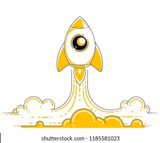 Rocket launch into undiscovered space. Explore universe, breathtaking space science. Thin line 3d vector illustration isolated on white.