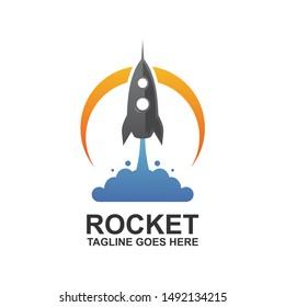 Rocket Launch Logo Design Vector