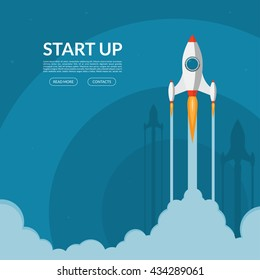 Rocket launch. New project start up concept in flat design style. Space for text. Vector illustration