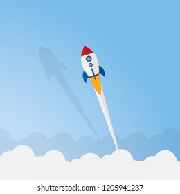 Rocket launch on the clouds and blue sky background, business Startup project concept. flat design vector illustration.