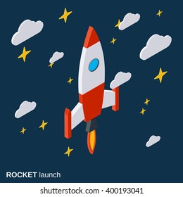 Rocket launch, project startup flat isometric vector concept illustration