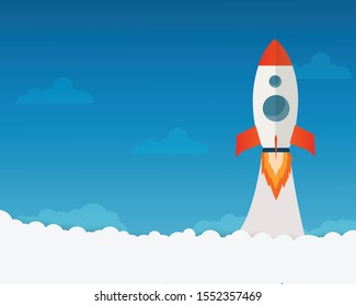 Rocket launch ship flat design vector, start up concept.