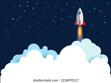 Rocket launch, ship illustration flying over cloud with night sky. beautiful scenery with white clouds.vector illustration concept of business.