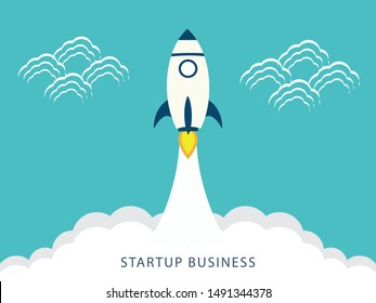 rocket launch, rocket ship soar up into the sky through the clouds and go heading to space. start up business concept - vector illustration
